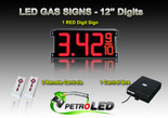 "12 Inch Digits - LED Gas sign package - 1 Red Digital Price Gasoline LED SIGNS - Complete Package w/ RF Remote Control - 33""x15"""