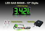 "12 Inch Digits - LED Gas sign package - 1 Green Digital Price Gasoline LED SIGNS - Complete Package w/ RF Remote Control - 33""x15"""