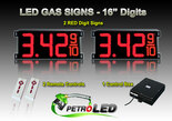 "16 Inch Digits - LED Gas sign package - 2 Red Digital Price Gasoline LED SIGNS - Complete Package w/ RF Remote Control - 42""x19"""