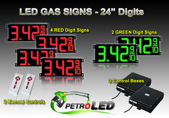 24 Inch Digits - LED Gas sign package - 4 Red & 2 Green Digital Price  Gasoline LED SIGNS - Complete Package w/ RF Remote Control - 65