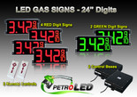 "24 Inch Digits - LED Gas sign package - 4 Red & 2 Green Digital Price Gasoline LED SIGNS - Complete Package w/ RF Remote Control - 65""x27"""