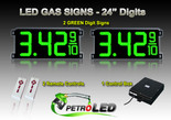 "24 Inch Digits - LED Gas sign package - 2 Green Digital Price Gasoline LED SIGNS - Complete Package w/ RF Remote Control - 65""x27"""