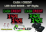 "CASH / CREDIT LED Digital Gas Price Changer package - CASH / CREDIT signs (2) & 16 Inch Digits  - 2 Red & 2 Green Digital Price Gasoline LED SIGNS - Complete Package w/ RF Remote Control - 42""x19"""