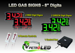 "8 Inch Digits - LED Gas Price signs - 2 Red & 2 Green Digital Price Gasoline LED SIGNS - Complete Package w/ RF Remote Control - 26""x11"""