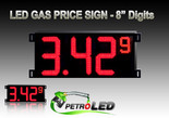 "Gas Price LED Sign (Digital) 8"" Red with 3 Large Digits & 1 small digit - 5 Year Warranty"