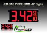 "Gas Price LED Sign (Digital)  8"" Red with 3 Large Digits & fraction digits - 5 Year Warranty"