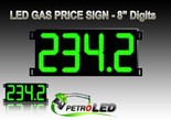 "Gas Price LED Sign (Digital)  8"" Green with 4 Large Digits - 5 Year Warranty"