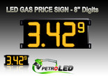 "Gas Price LED Sign (Digital)  8"" Amber (Yellow) with 3 Large Digits & 1 small digit - 5 Year Warranty"