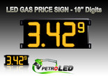 "Gas Price LED Sign (Digital)  10"" Amber (Yellow) with 3 Large Digits & 1 small digit - 5 Year Warranty"