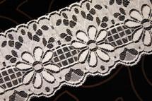"""4"""" Off-White Floral Lace Trim #lace-128"""