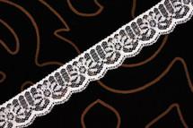 "1 1/8"" White Silver Metallic Wholesale Lace Trim #lace-501"