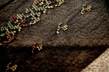 """8"""" Embroidered Brown Green Olive on Black Tulle Trim Wholesale"""