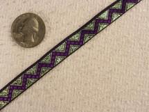 Deep Purple Zigzag on Green Metal Jacquard Ribbon #-WR-107