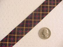 Cris-Cross Multi-Colored (Gold, Plum, Hunter Green, Fuchsia) Jacquard Ribbon #WR-2