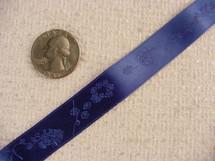 Bird-n-Vine Delicate on Royal Blue Jacquard Ribbon #-WR-245