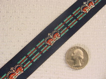 British Crown on Navy Striped Background Jacquard Ribbon #WR-25