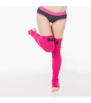 Hot Pink & Black Acrylic Leg Warmers 1