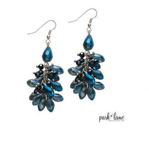 Cascading Blue Faceted Crystal Drop Earrings on Silver Chain