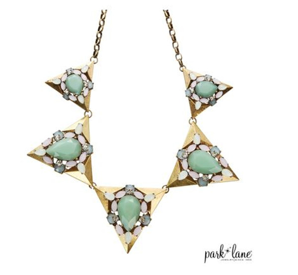 Necklace with 5 Jade, Opal & Rhinestone Triangular Pendants on Brassed Curb Link Chain
