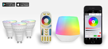 3 Easybulb GU10 RGBW Spotlight Bundle Wifi Box and Remote Control