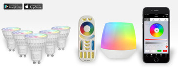 5 Easybulb GU10 RGBW Spotlight Bundle Wifi Box and Remote Control