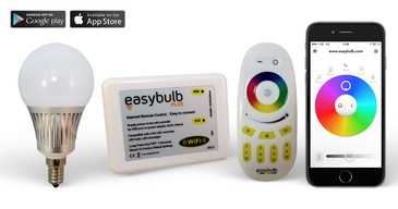 1 Easybulb E14 5W RGBW Bundle with Wifi Box and Remote Control