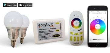 2 Easybulb E14 5W RGBW Bundle with Wifi Box and Remote Control