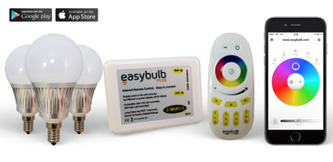 3 Easybulb E14 5W RGBW Bundle with Wifi Box and Remote Control