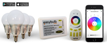 4 Easybulb E14 5W RGBW Bundle with Wifi Box and Remote Control