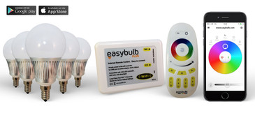 5 Easybulb E14 5W RGBW Bundle with Wifi Box and Remote Control