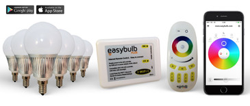6 Easybulb E14 5W RGBW Bundle with Wifi Box and Remote Control