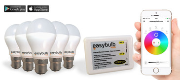 5 x Easybulb Plus Round RGBW 6W Light Bulb + Wifi Box Controller