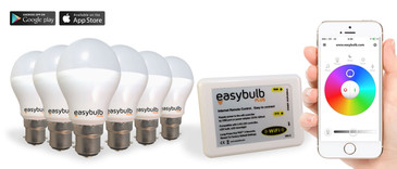 6 x Easybulb Plus Round RGBW 6W Light Bulb + Wifi Box Controller