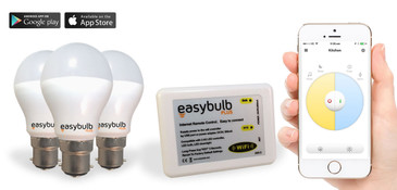 3 x Easybulb Plus Round Dual WHITE 6W Light Bulb + Wifi Box