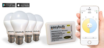 4 x Easybulb Plus Round Dual WHITE 6W Light Bulb + Wifi Box