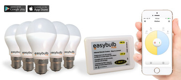 5 x Easybulb Plus Round Dual WHITE 6W Light Bulb + Wifi Box
