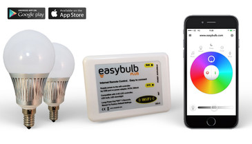 2 x Easybulb E14 RGBW 5W LED + Wifi Box Colour Changing Wireless Lamp