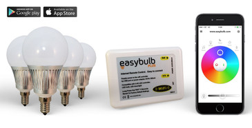 4 x Easybulb E14 RGBW 5W LED + Wifi Box Colour Changing Wireless Lamp