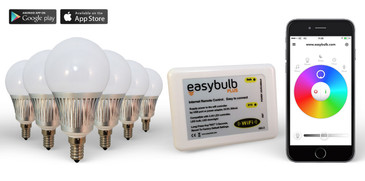 6 x Easybulb E14 RGBW 5W LED + Wifi Box Colour Changing Wireless Lamp