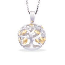 A Family Tree - Begins With The Love Of Two Hearts - sterling silver pendant (Yellow Gold)