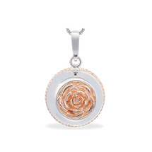 English Rose - Always a Lady - sterling silver pendant (cute size, rose gold)