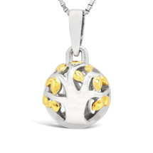 Family Tree - Begins With The Love Of Two Hearts - sterling silver pendant (Yellow Gold)