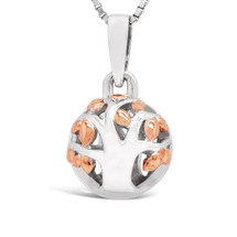 Family Tree - Begins With The Love Of Two Hearts - sterling silver pendant (Rose Gold)