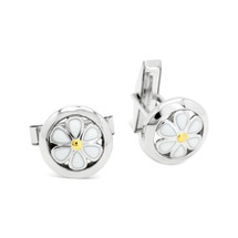 Sphere of Life Daisies - Naturally Pretty -- Silver Cufflinks