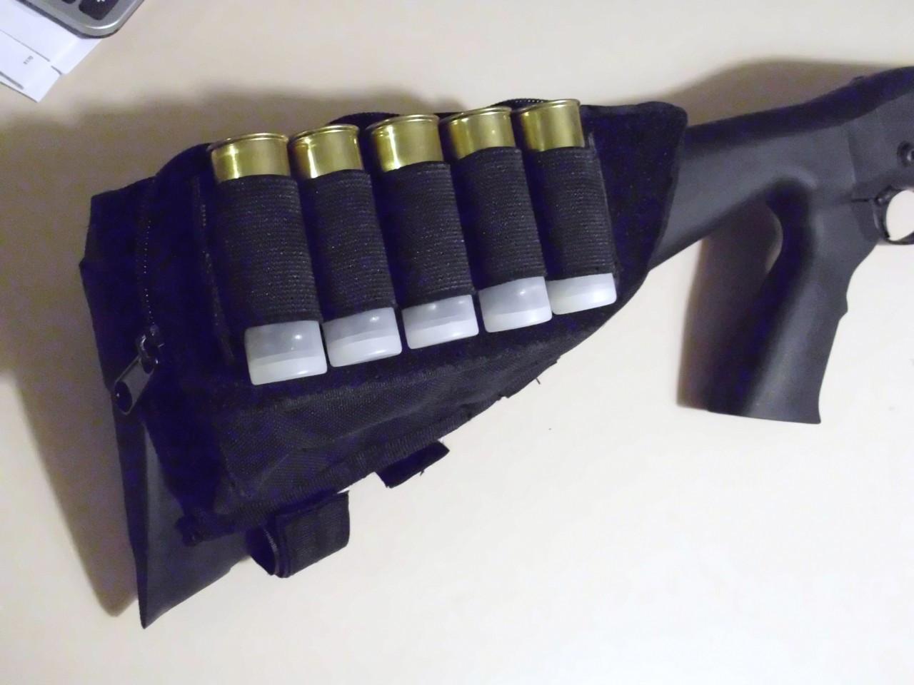 Tactical Butt Stock Shotgun Cheek Rest Ammo Pouch Black Aps