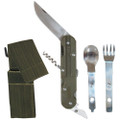 European Military 4-in-1 Knife Fork Spoon Screw Survival/Camping Chow Set w Case