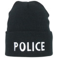 Police Black Embroidered Knit Watch Cap