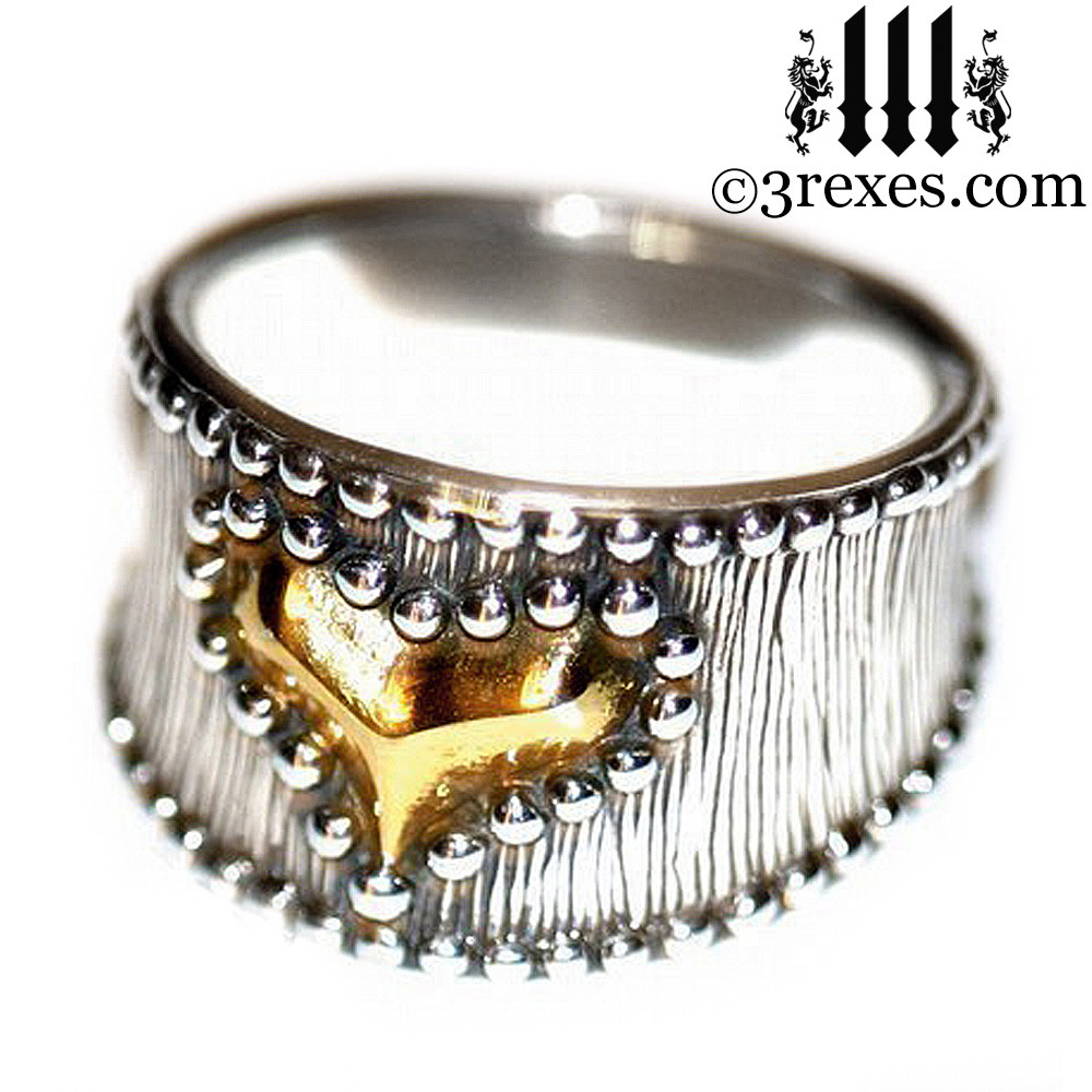 medieval studded gold heart ring side detail