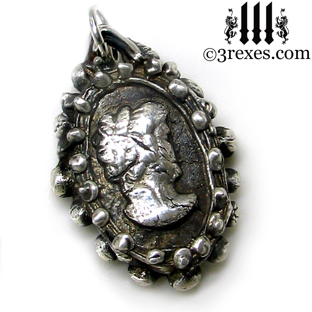 haunted ghost cameo necklace detail one of a kind