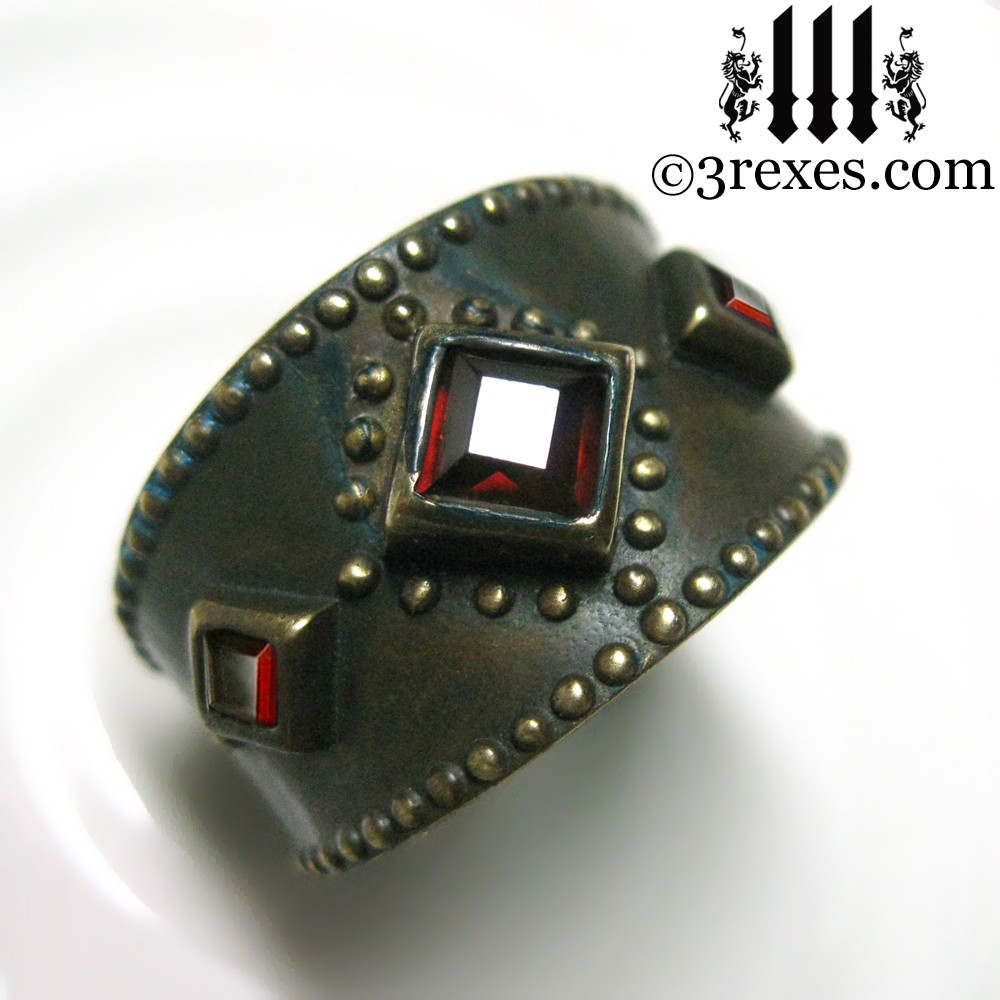 medieval ring with garnet